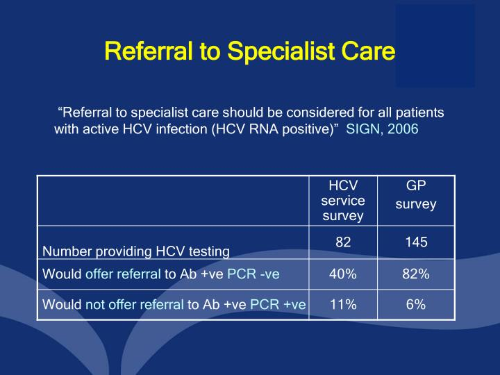 Referral to Specialist Care