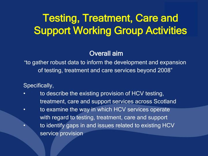 Testing treatment care and support working group activities