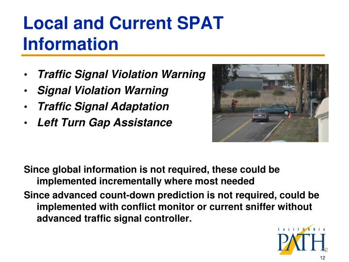 Local and Current SPAT Information
