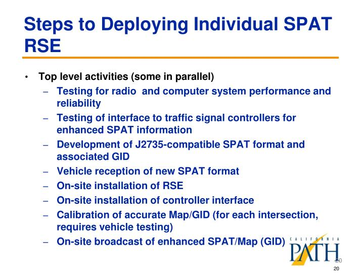 Steps to Deploying Individual SPAT RSE