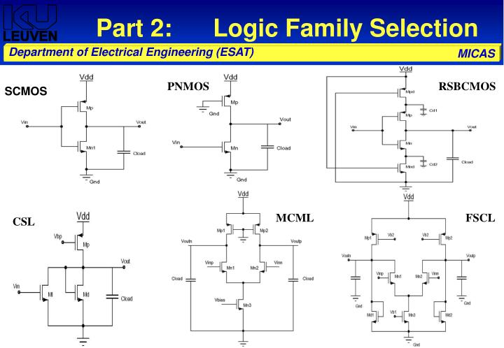 Part 2:      Logic Family Selection