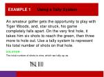 example 1 using a tally system