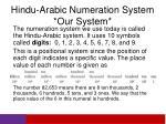 hindu arabic numeration system our system