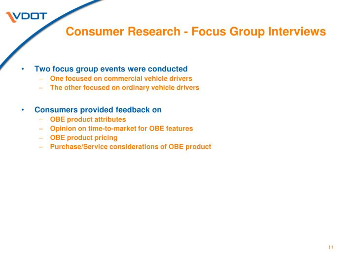 Consumer Research - Focus Group Interviews