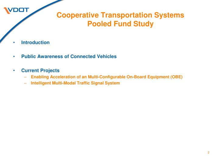Cooperative transportation systems pooled fund study1
