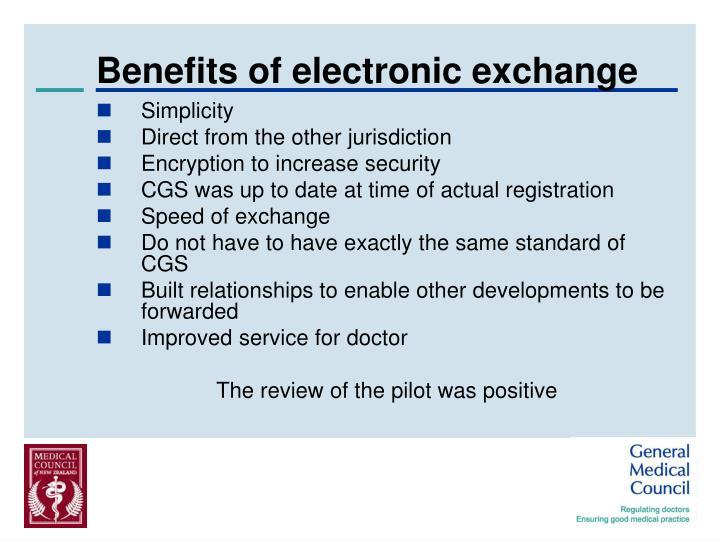 Benefits of electronic exchange