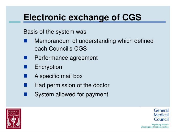 Electronic exchange of CGS