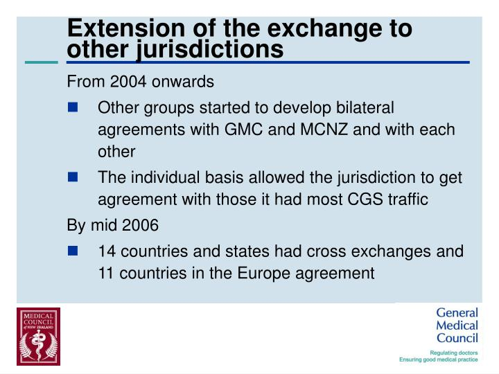 Extension of the exchange to other jurisdictions