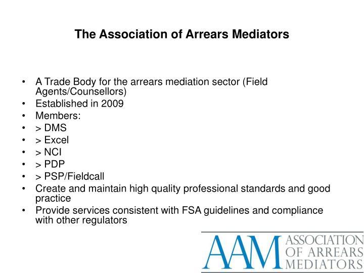The association of arrears mediators