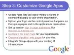 step 3 customize google apps