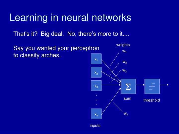 Learning in neural networks