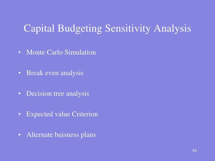 Capital Budgeting Sensitivity Analysis