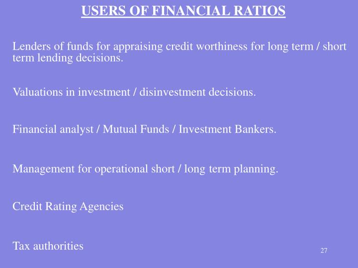 USERS OF FINANCIAL RATIOS