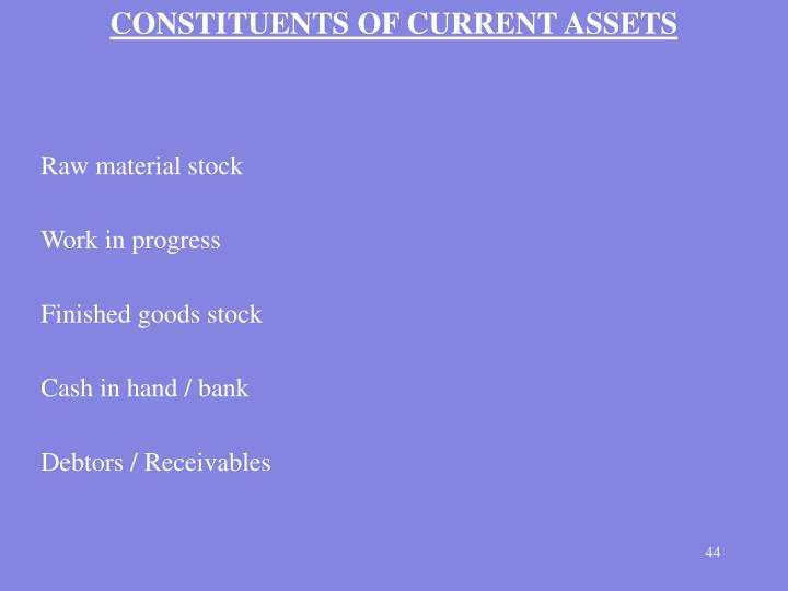 CONSTITUENTS OF CURRENT ASSETS