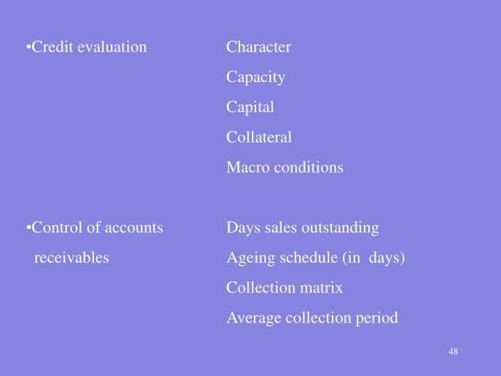 Credit evaluationCharacter