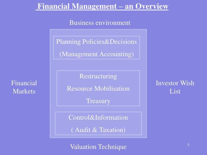 Financial Management – an Overview