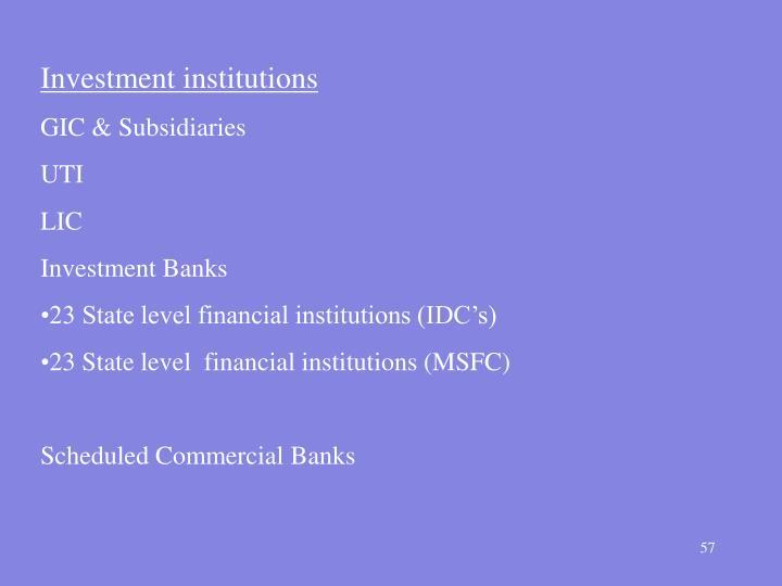 Investment institutions