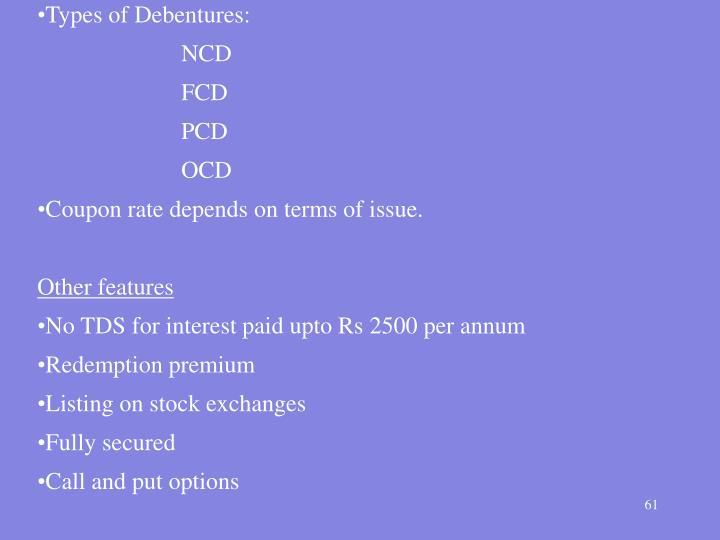 Types of Debentures: