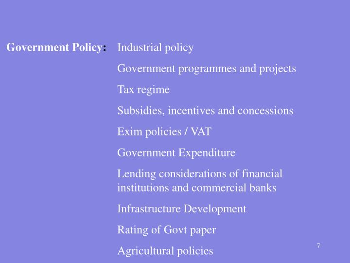 Government Policy