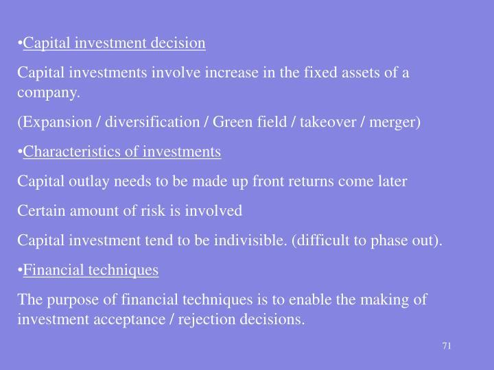 Capital investment decision