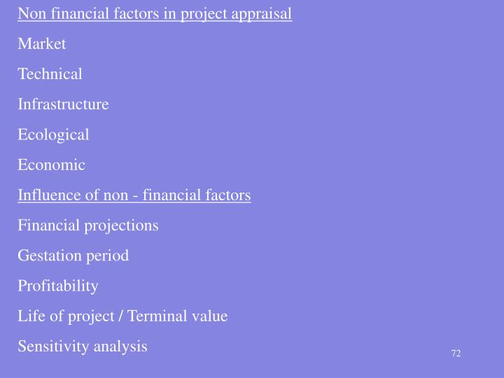 Non financial factors in project appraisal