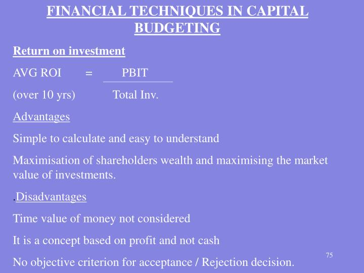 FINANCIAL TECHNIQUES IN CAPITAL BUDGETING