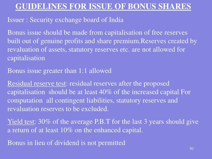 GUIDELINES FOR ISSUE OF BONUS SHARES