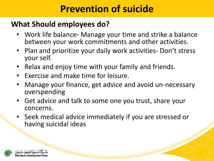 Prevention of suicide