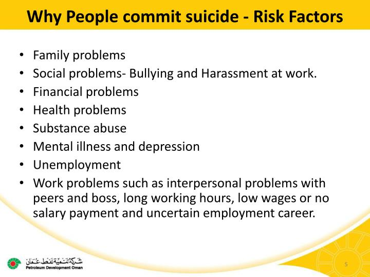 Why People commit suicide - Risk Factors