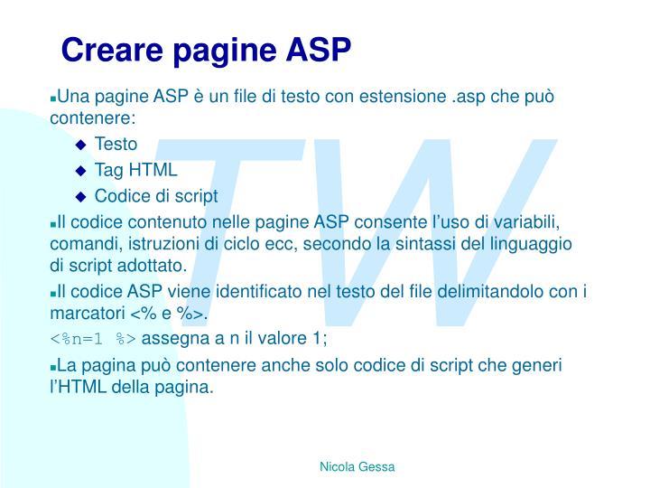 Creare pagine ASP