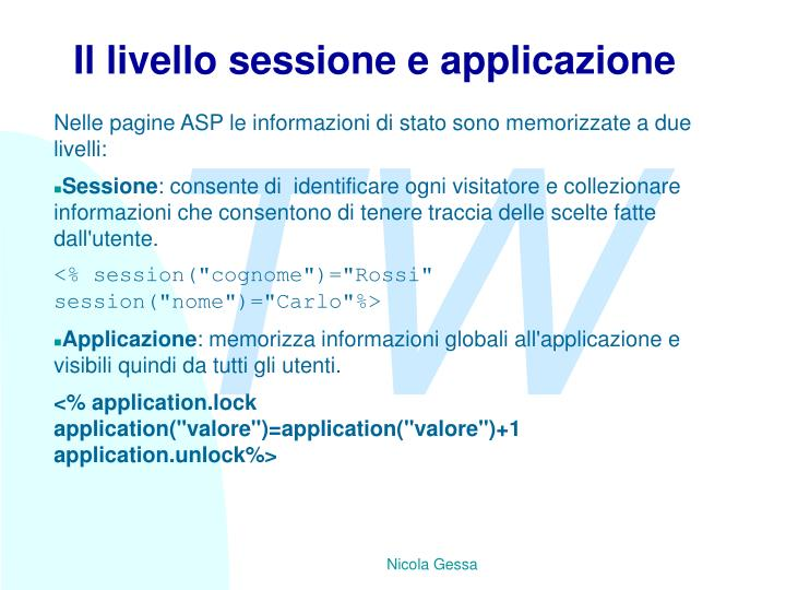 Il livello sessione e applicazione