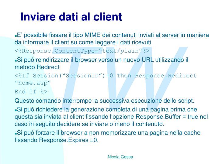 Inviare dati al client
