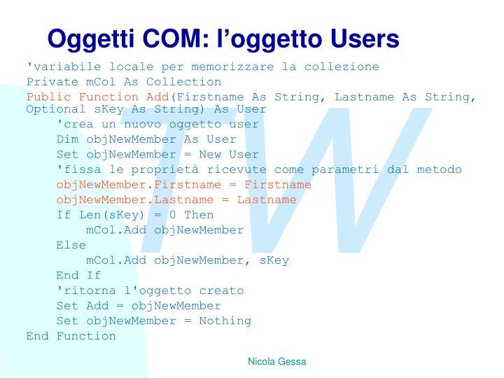 Oggetti COM: l'oggetto Users