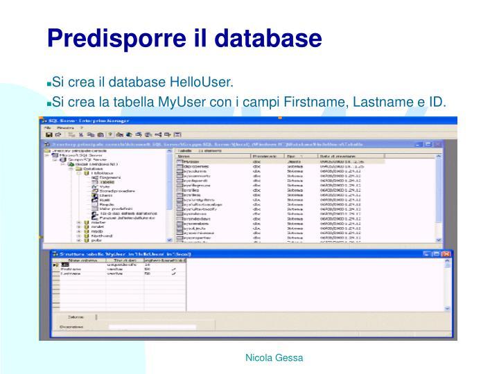 Predisporre il database