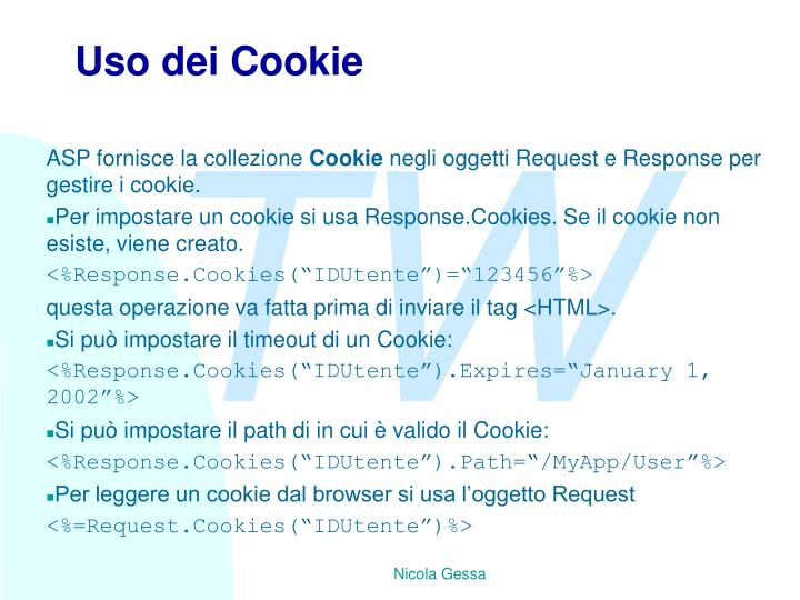 Uso dei Cookie