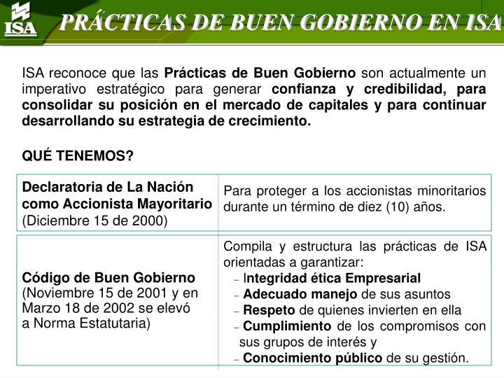 PRÁCTICAS DE BUEN GOBIERNO EN ISA
