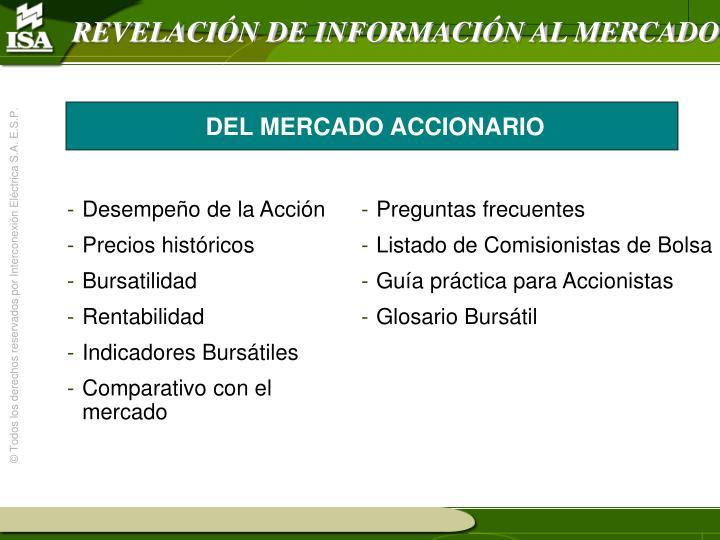 REVELACIÓN DE INFORMACIÓN AL MERCADO