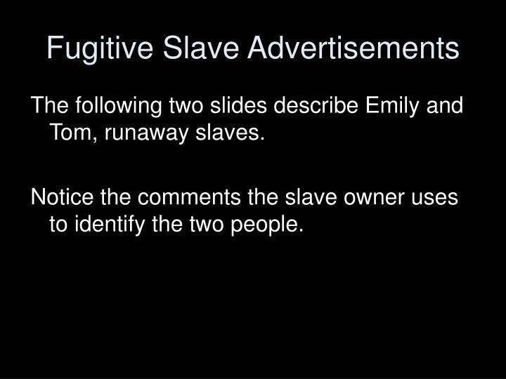 Fugitive Slave Advertisements