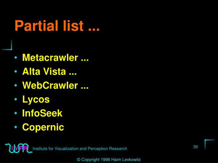 Partial list ...