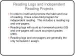 reading logs and independent reading projects