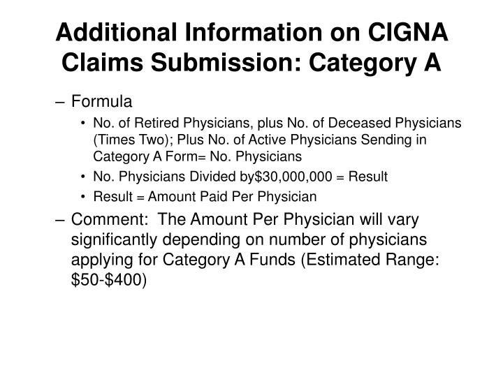Additional Information on CIGNA Claims Submission: Category A