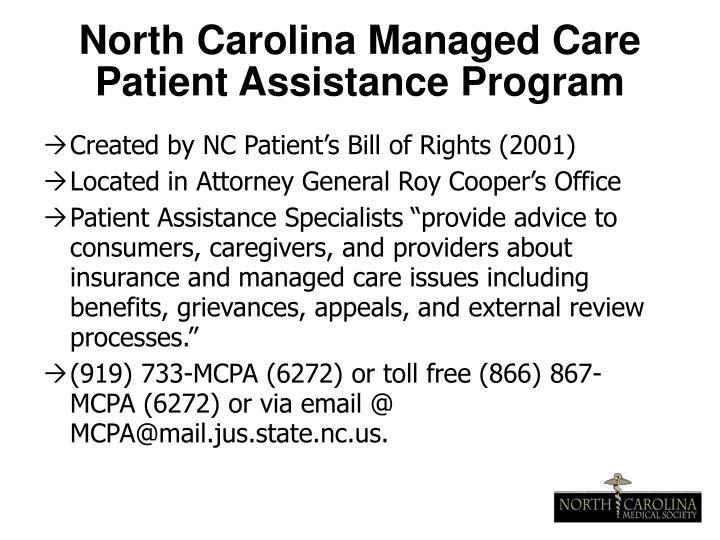 North Carolina Managed Care Patient Assistance Program
