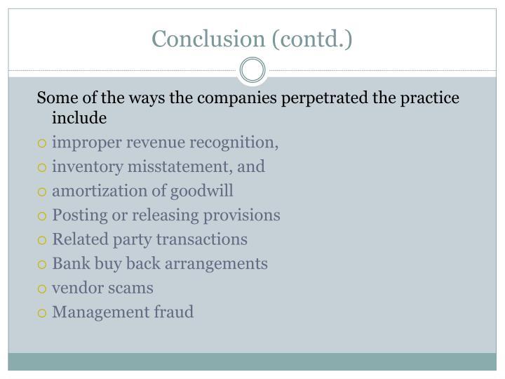 Conclusion (contd.)