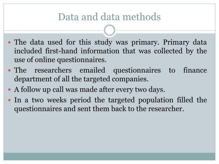 Data and data methods