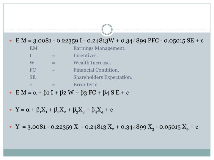 E M = 3.0081 - 0.22359 I - 0.24813W + 0.344899 PFC - 0.05015 SE + ε