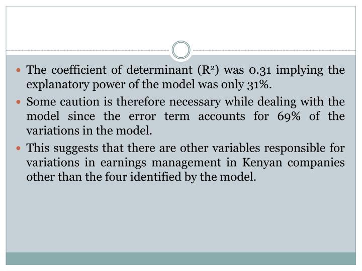 The coefficient of determinant (R