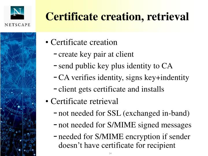 Certificate creation, retrieval