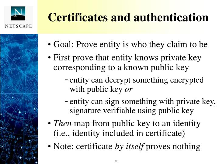 Certificates and authentication