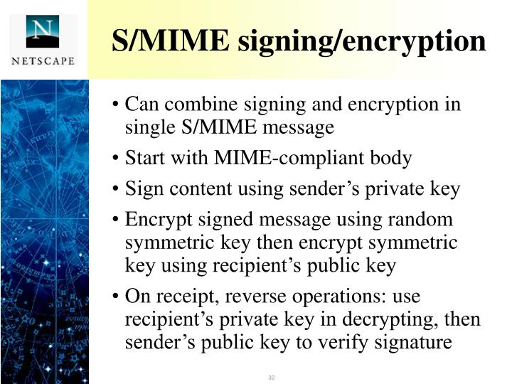 S/MIME signing/encryption