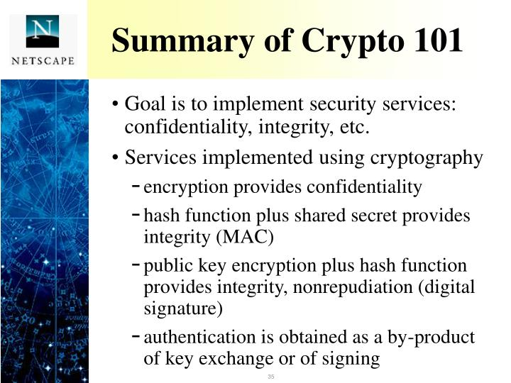 Summary of Crypto 101
